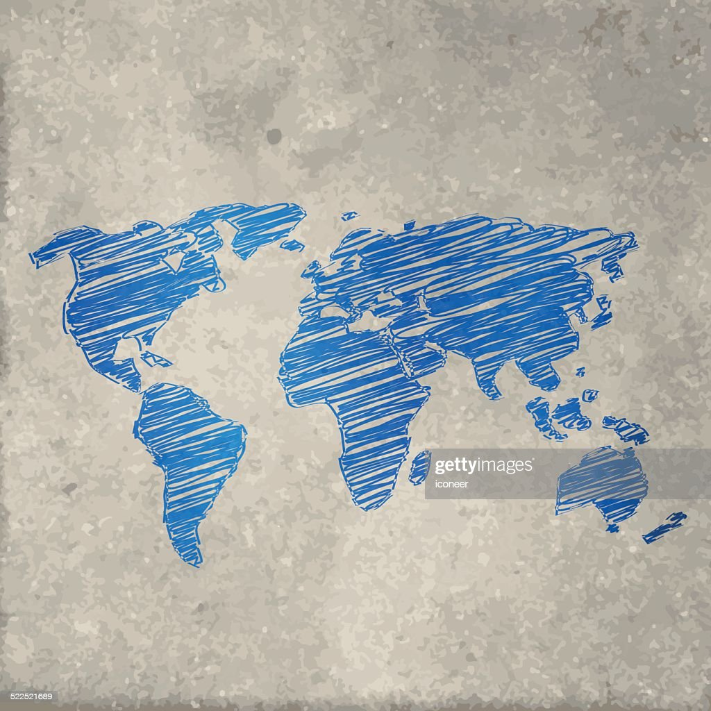 World map blue on stone background vector art getty images world map blue on stone background vector art gumiabroncs Gallery