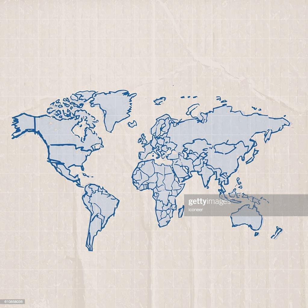 World map blue sketch on grid cardboard background vector art world map blue sketch on grid cardboard background vector art gumiabroncs Image collections