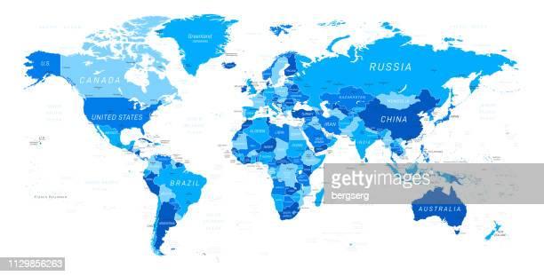 ilustrações, clipart, desenhos animados e ícones de mapa do mundo. ilustração em vetor azul - américa latina