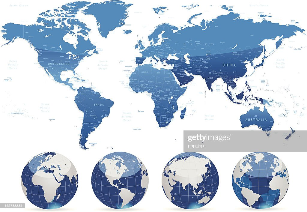 World map blue with countries cities and globes vector art getty world map blue with countries cities and globes vector art gumiabroncs Images