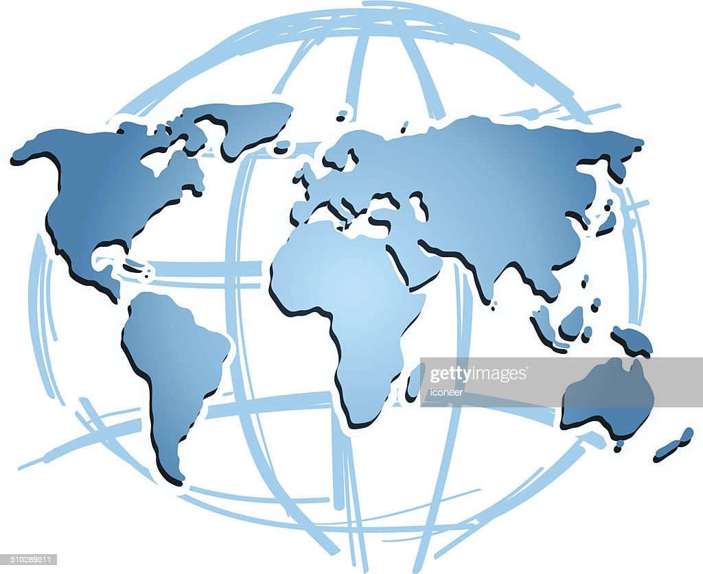 World map blue with globe vector art getty images world map blue with globe vector art gumiabroncs Choice Image