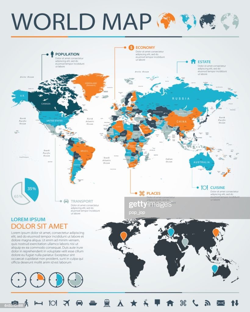 World Map - business chart infographic - Illustration