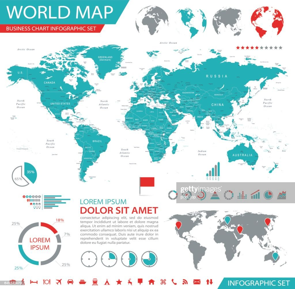 World Map - business chart infographic map - Illustration