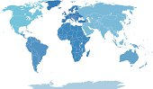 world map by seven continents ihn blue