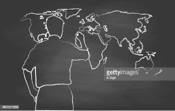 world map chalk sketch - physical geography stock illustrations, clip art, cartoons, & icons