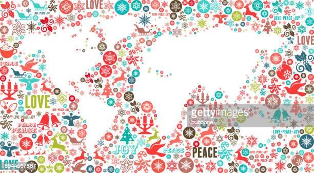 Wereld kaart Chrismas Holiday Celebration Vector Icon patroon