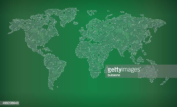 World Map Circuit Board royalty free vector art background