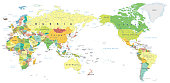 World Map Color - Asia in Center