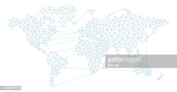 illustrazioni stock, clip art, cartoni animati e icone di tendenza di world map connection abstract polygon line - planisfero