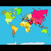 world map continents and countries. vector illustration