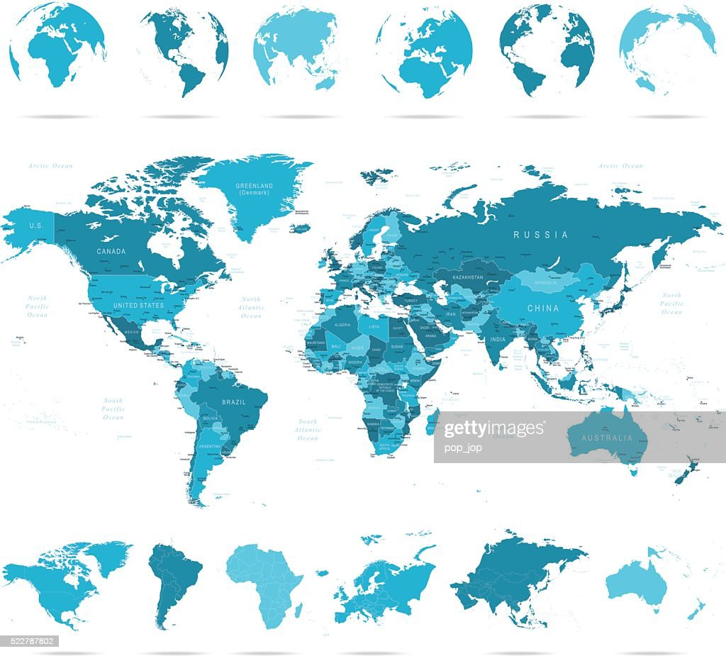 World map continents and globes vector art getty images world map continents and globes vector art gumiabroncs Choice Image