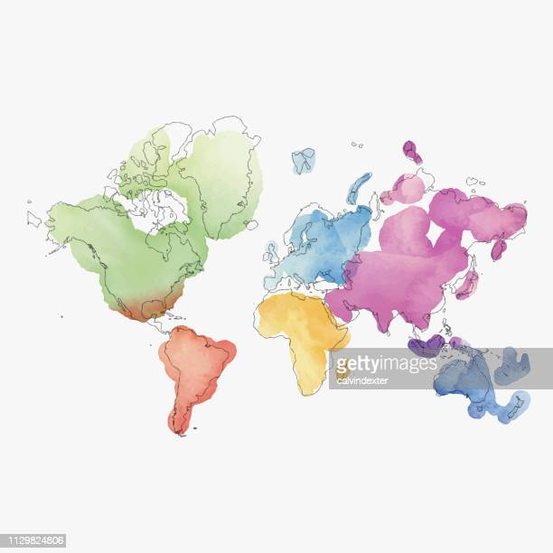 ilustrações de stock, clip art, desenhos animados e ícones de world map continents in watercolor paintings - mapadomundo