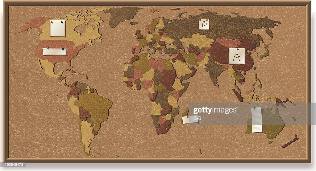 World map cork board vector art getty images world map cork board vector art gumiabroncs Choice Image