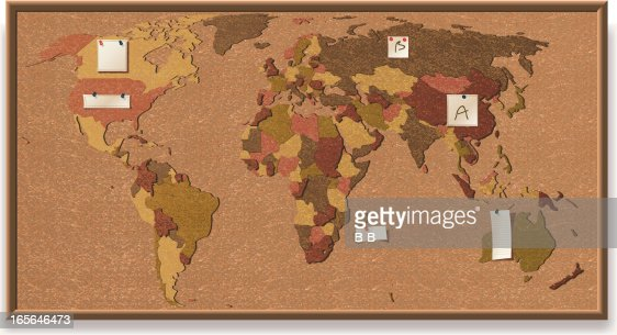 World map cork board vector art getty images gumiabroncs Image collections
