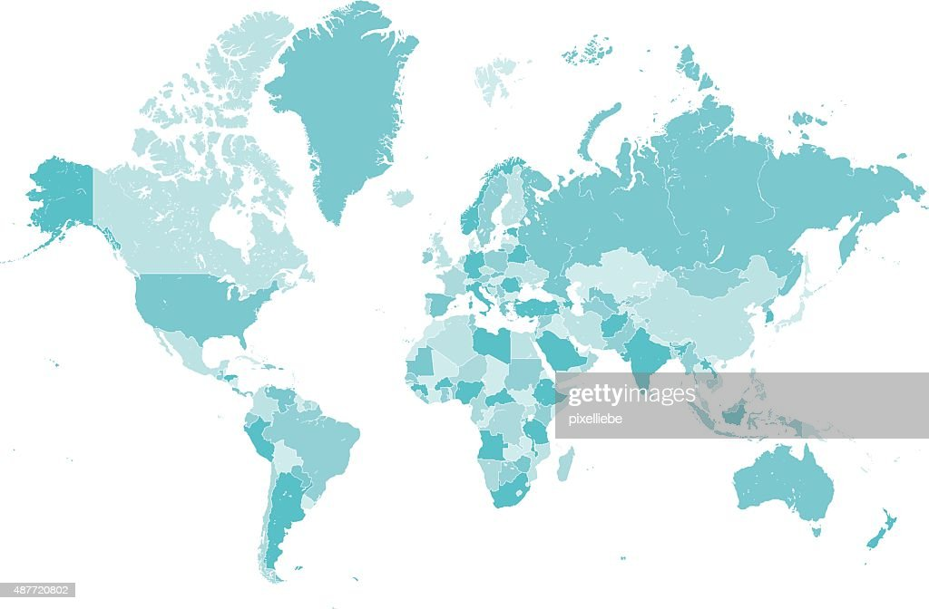 world map countries blue vector