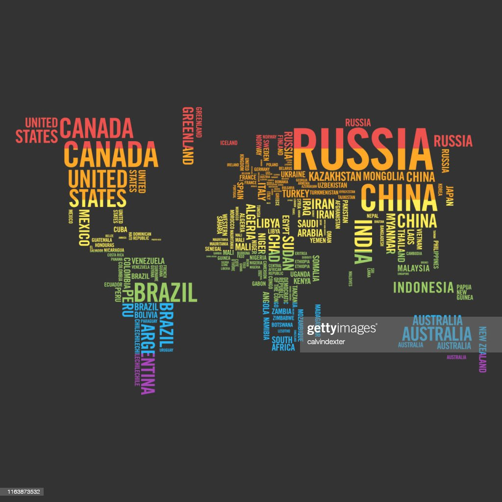 World Map Countries Names And Rainbow Flag Colors Stock