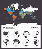 World map countries with globes