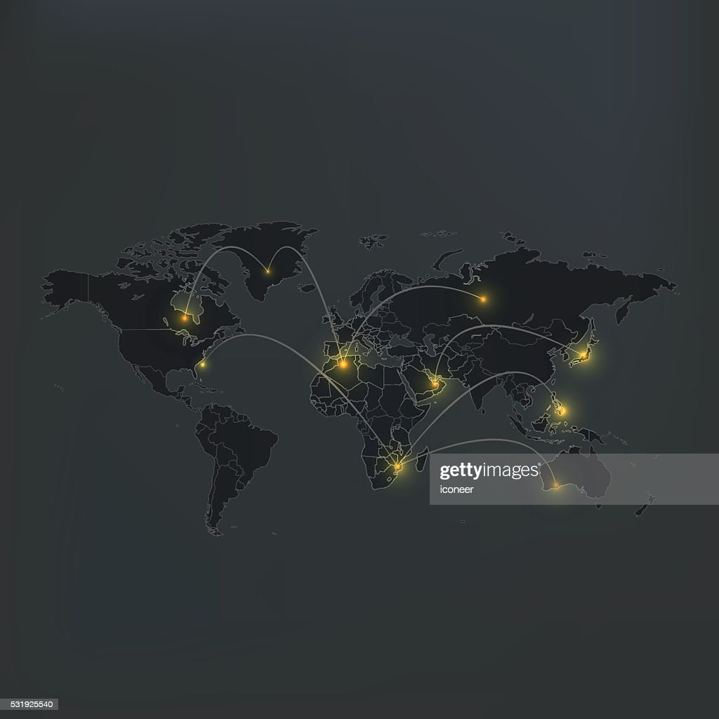 World map dark grey background with lights and connections vector world map dark grey background with lights and connections vector art gumiabroncs Gallery