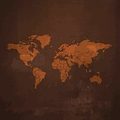 World Map dark on brown rusty metal background