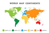 World map divided into six continents in different color.