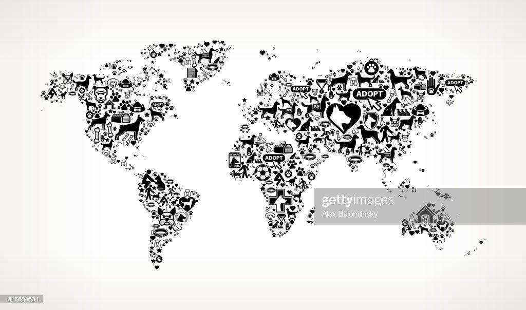 World map dog and canine pet black icon pattern vector art getty world map dog and canine pet black icon pattern vector art gumiabroncs Image collections