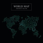 World Map Dot and Line Design