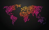 world map dots color gradient