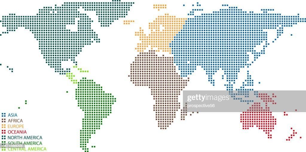World Map Dots Vector Outline Illustration Background ...