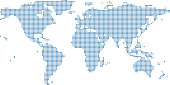 World map dots vector outline illustration background. Dotted World map. Highly detailed pixelated World map in blue background