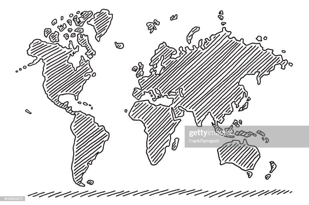 Weltkarte-Zeichnung : Stock-Illustration