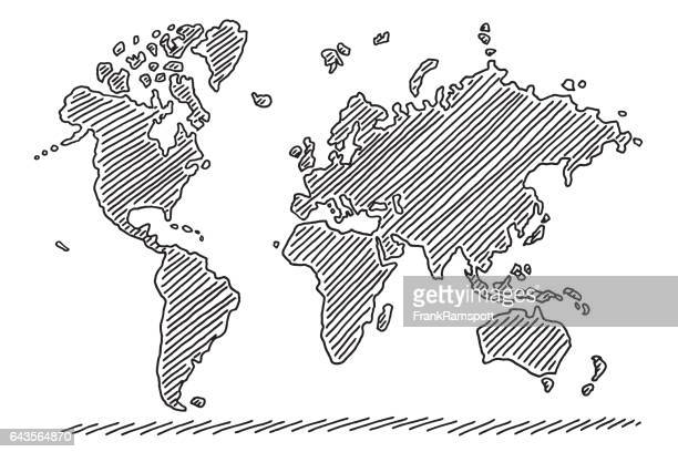 illustrazioni stock, clip art, cartoni animati e icone di tendenza di world map drawing - europa continente