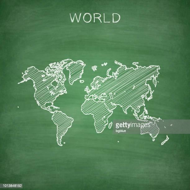 weltkarte auf tafel - tafel gezeichnet - europa kontinent stock-grafiken, -clipart, -cartoons und -symbole