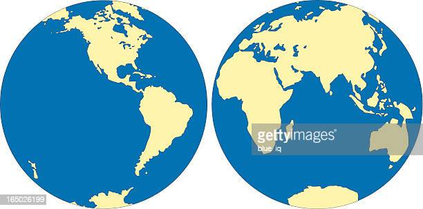 world map - east and west hemisphere in vector format - east stock illustrations