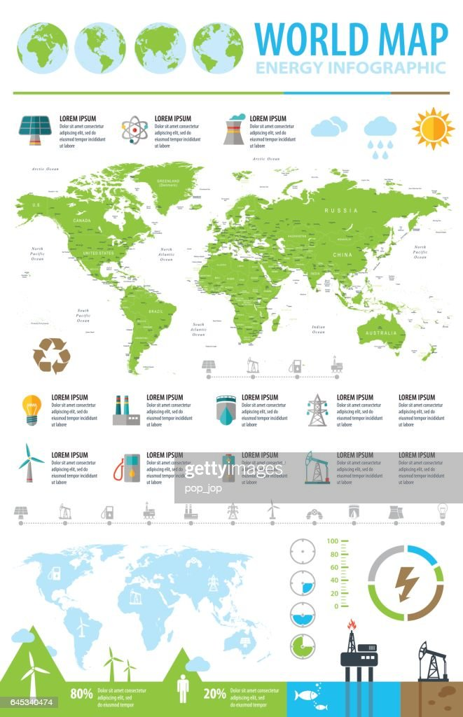 World Map - ecology industry energy infographic - Illustration