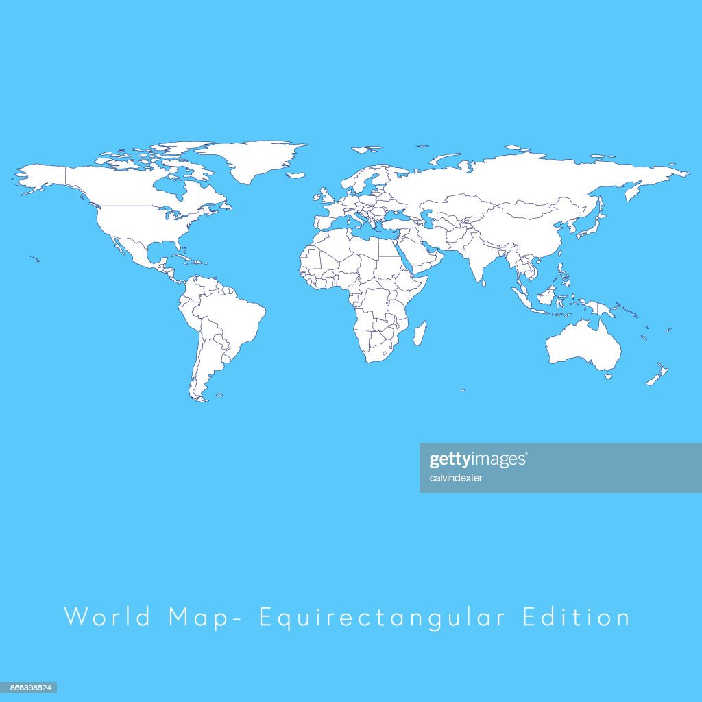 World Map Equirectangular Edition Vector Art Getty Images