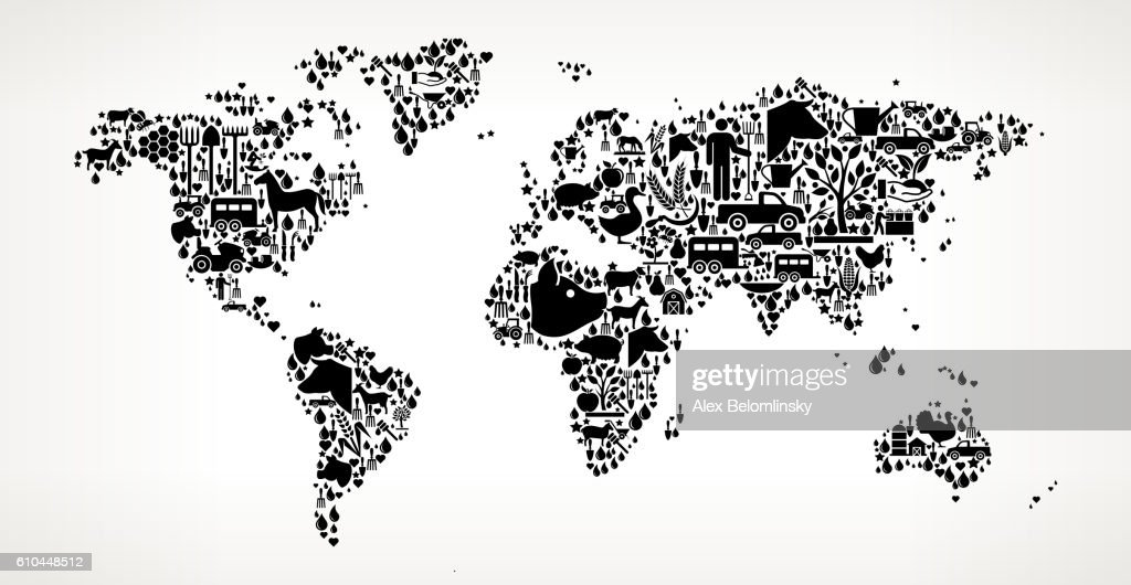 Agriculture World Map.World Map Farming And Agriculture Black Icon Pattern Vector Art