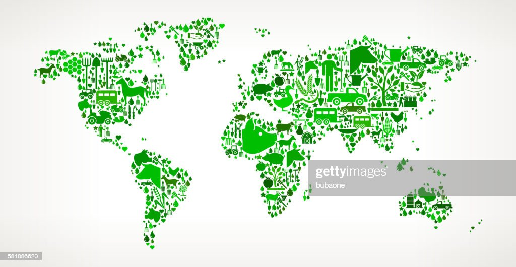 World Map Farming and Agriculture Green Icon Pattern