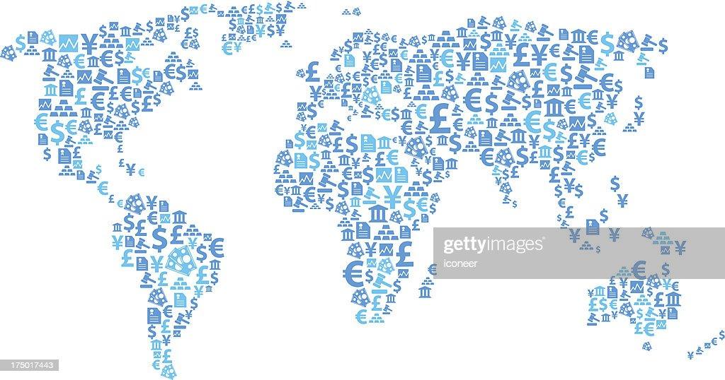 World map financial icons : stock illustration