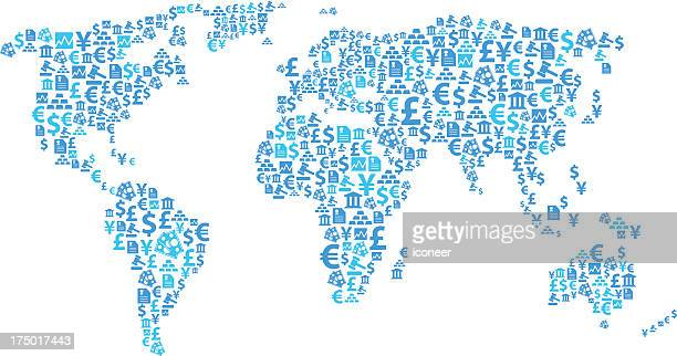World map financial icons