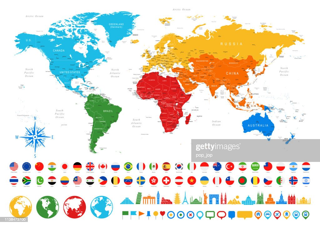 World Map Flags Travel Icons Borders Countries And Cities ...