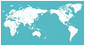 World Map Flat - Asia in Center