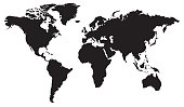 World map flat design in black and white