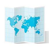 World Map folded, isolated on white Background