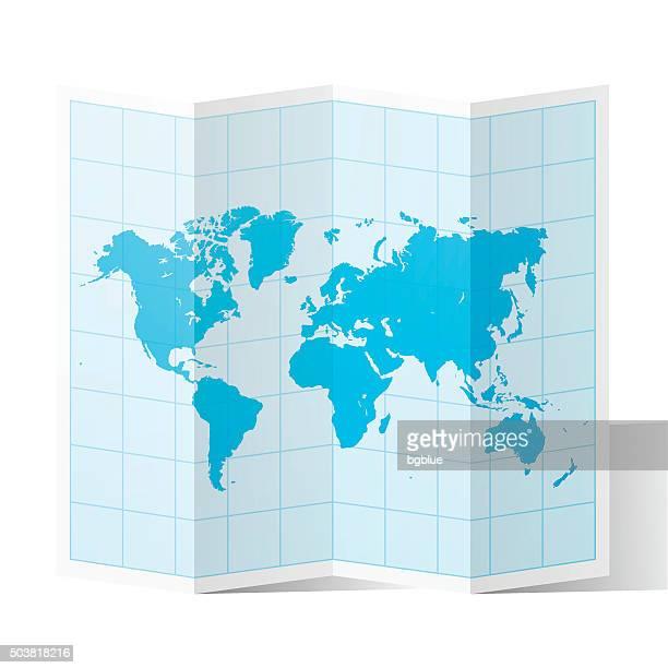 ilustraciones, imágenes clip art, dibujos animados e iconos de stock de mapa mundial doblar, aislado sobre fondo blanco - vertical