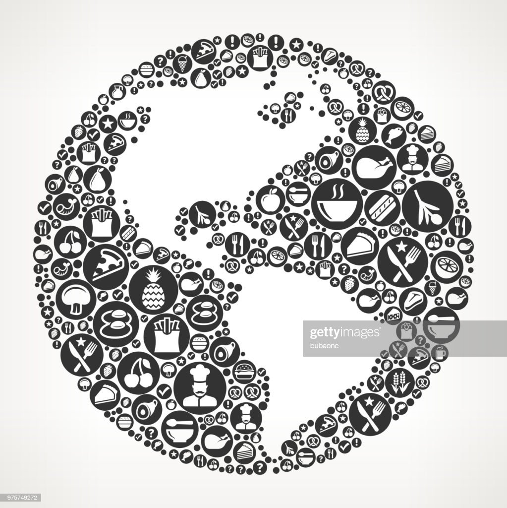 World Map Food Black And White Icon Background Stock