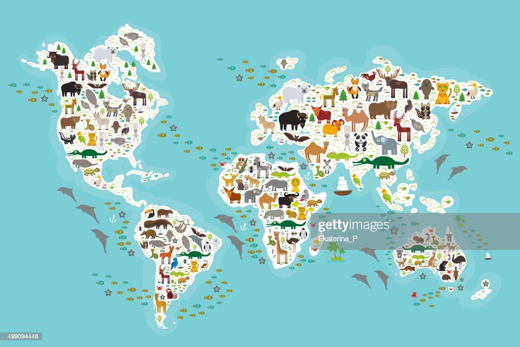 world map for children, Animals from all over the world