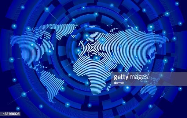 stockillustraties, clipart, cartoons en iconen met world map from circle, center in europe global communications - middelste deel