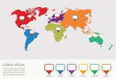 World map, geo position pointers infographics EPS10 file.