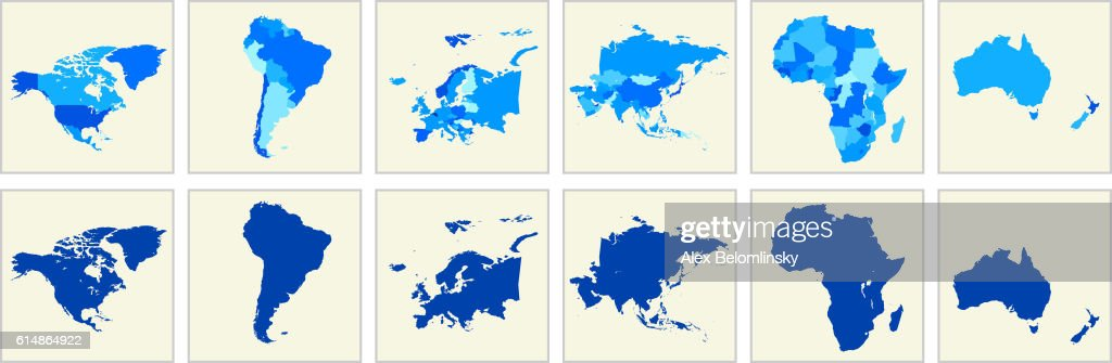 World Map Geography Deatiled Vector Illustration in Blue