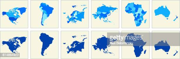 world map geography deatiled vector illustration in blue - north america stock illustrations